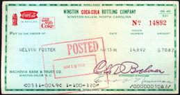#CC344 - Uncommon Coca Cola Winston Bottling Company Check
