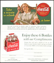 #CC373 - 1940s Coca Cola Two Part Ad Card/Coupon with Lady in Rocking Chair
