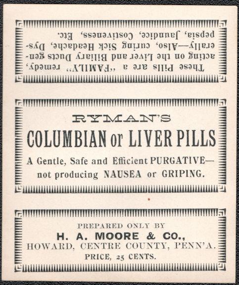 #ZBOT231 - Ryman's Columbian Liver Pills Box Label - Cure Label