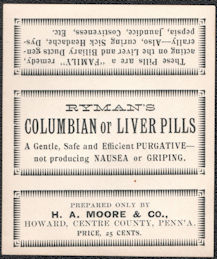 #ZBOT231 - Ryman's Columbian Liver Pills Box Label - Cure Label