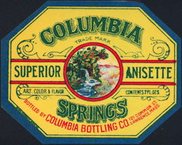 #ZLS226 - Columbia Springs Anisette Soda Bottle Label