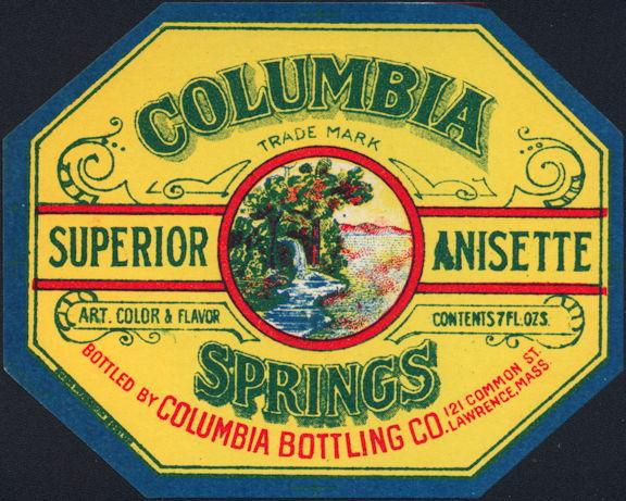 #ZLS226 - Columbia Springs Anisette Soda Bottle Label