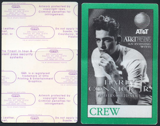##MUSICBP0164 - Harry Connick, Jr. and his Orchestra OTTO Cloth Backstage Crew Pass from 1992 Concert