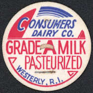 #DC149 - Consumers Dairy Co. Milk Bottle Cap - Westerly, RI