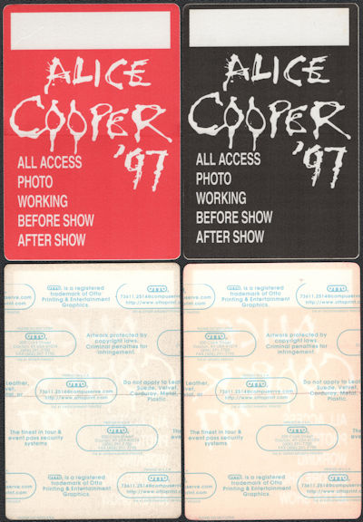 ##MUSICBP0825 - Pair of Uncommon Alice Cooper OTTO cloth Backstage Passes from the 1997 Fistful of Alice Tour