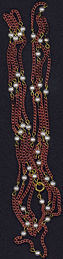 """#BEADS0465 - Huge 56"""" Copper and Pearl Necklace"""