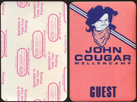 ##MUSICBP0396 - Unusual John Cougar Mellencamp OTTO Cloth Backstage Guest Pass from the 1980s