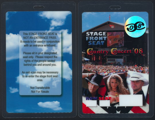 ##MUSICBP0132 - Scarce OTTO Stage Front Seat Pass for the 2008 Country Concert with Taylor Swift and the Beach Boys?! - As low as $3.50 each