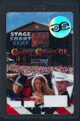 ##MUSICBP0132 - Scarce OTTO Laminated Stage Front Seat Pass for the 2008 Country Concert with Taylor Swift and the Beach Boys