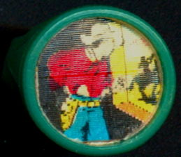 #TY738 - Flicker Action Ring with Cowboy with a Gun Peaking Out a Window