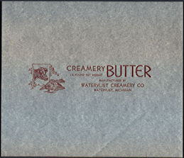 #DA092 - Watervliet Creamery Butter Wrapper with Cow Head