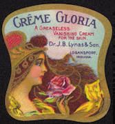 #ZBOT162 - Early Lynas Creme Gloria Milk Glass Jar Label
