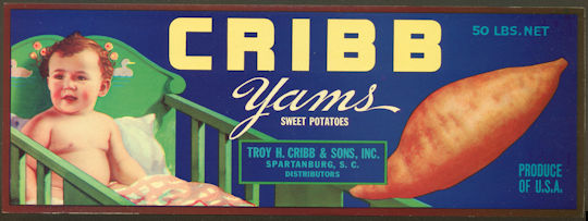 #ZLCA*023 - Cribb Yams Sweet Potatoes Crate Label - As low as 50¢ each