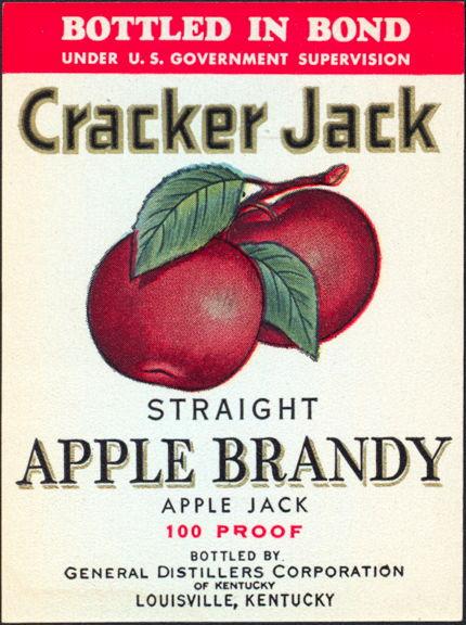 #ZLW116 - Cracker Jack Straight Apple Brandy 100 Proof Bottle Label