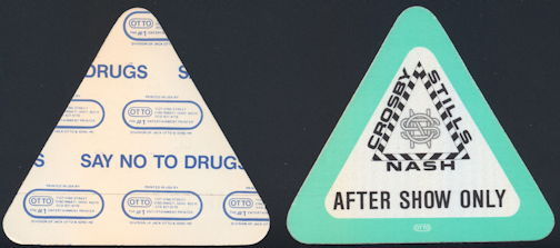 ##MUSICBP0309  - Scarcer Crosby Still & Nash OTTO Cloth Backstage Pass from the 1987 Summer Tour