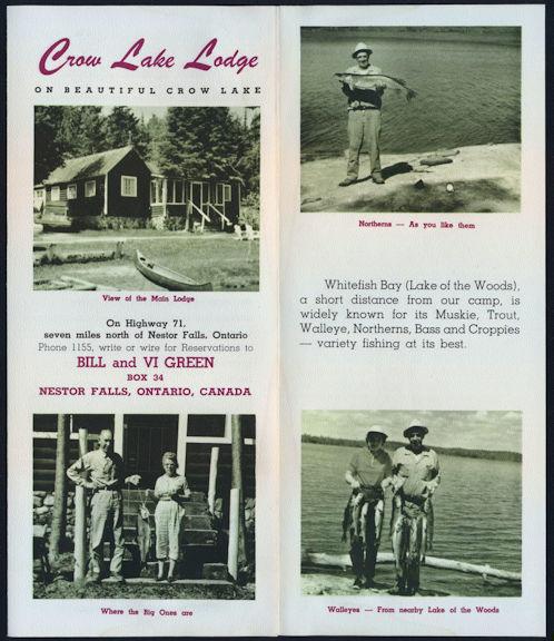 #ZZZ123 - Crow Lake Lodge 1940s Fishing Brochure