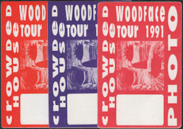 ##MUSICBP0711  - Group of 3 Different Colored Crowded House Cloth OTTO Backstage Photo Passes from the 1991 Woodface Tour