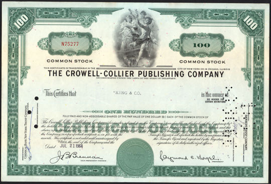 #ZZCE077- The Crowell-Collier Publishing Company Stock Certificate - As low as 75¢ each
