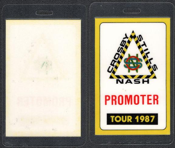 "##MUSICBP0608 - Scarce 1987 Crosby Stills & Nash Laminated Backstage Pass from ""Crosby Stills Nash 1987 Tour"""