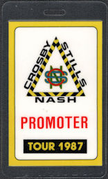 "##MUSICBP0608 - Scarce 1987 Crosby Stills & Nash OTTO Laminated Promoter Backstage Pass from ""Crosby Stills Nash 1987 Tour"""