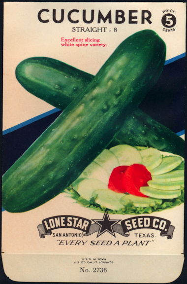 #CE057 - Brightly Colored Straight 8 Cucumber Lone Star 5¢ Seed Pack - As Low As 50¢ each