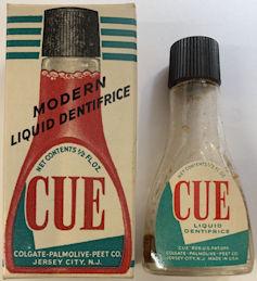 #CS429 - Rare Unopened Glass Bottle of Cue Liquid Dentifrice in Original Box