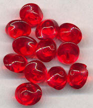 #BEADS0712 - Group of 10 Unusual Shaped Red Glass Czech Bead
