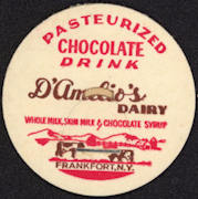 #DC141 - D'Amelio's Chocolate Drink Milk Bottle Cap with Cows