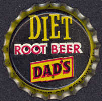 #BC083 - Group of 10 Cork Lined Diet Dad's Root Beer  Soda Caps