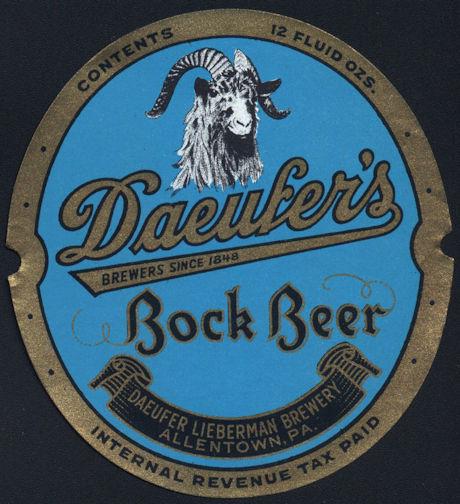 #ZLBE093 - Daeufers Bock IRTP Beer Bottle Label - Goat