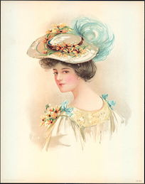 #MS153 - 1908 Victorian Print - Lady with Daisies in Her Hat