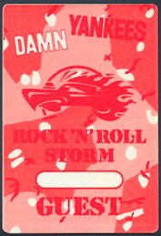 ##MUSICBP0205 - Special Rare Glow in the Dark Pass Made for a 1991 Performance by the Damn Yankees Honoring Gulf War Troups