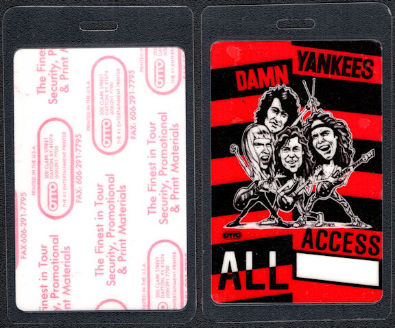 ##MUSICBP0501 - Uncommon Damn Yankees VIP Laminated Backstage Pass from the Damn Yankees Tour