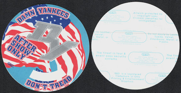 ##MUSICBP0715  - Damn Yankees OTTO Cloth After Show Backstage Pass from the 1992 Don't Tread Tour