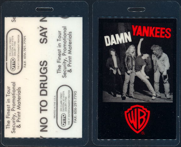 ##MUSICBP0464 - Damn Yankees Laminated OTTO Backstage pass from the 1990 Tour