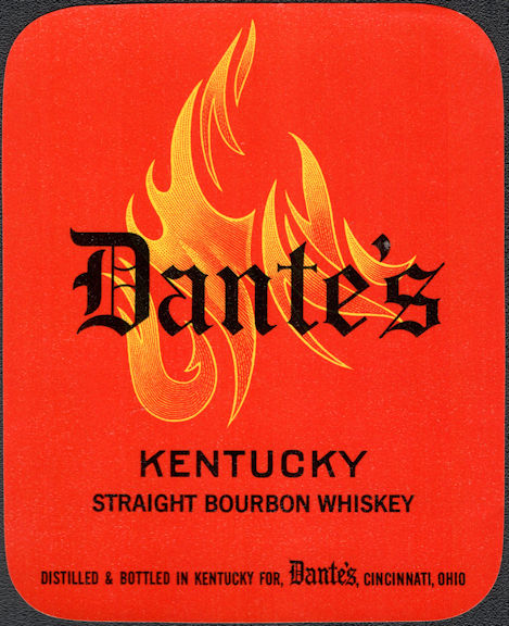 #ZLW179 - Group of 4 Dante's Kentucky Straight Bourbon Labels - Cincinnati, OH