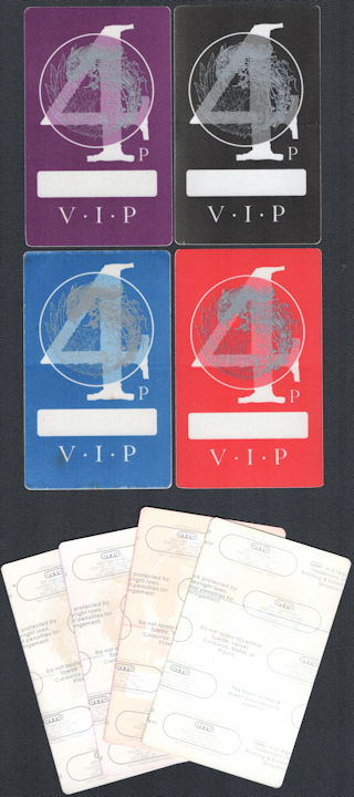 ##MUSICBP0791 - Group of Four Different Colored Danzig OTTO V.I.P.  Cloth Backstage Passes from the 1994 Tour with Marilyn Manson and Korn