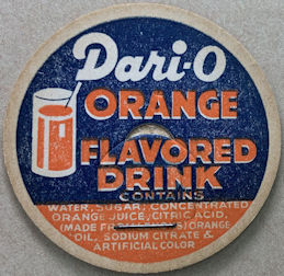 #DC219 - Dari-O Orange Milk Bottle Cap Picturing a Glass of Orange Drink