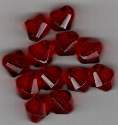 #BEADS0866 - Group of 12 Large 12mm Ruby Colored Double Cone Faceted Beads