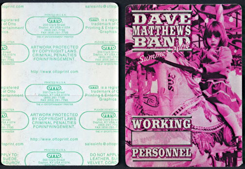 ##MUSICBP0307 - Dave Matthews Band OTTO Cloth Backstage Pass from the 2004 Summer Tour