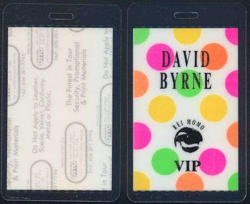 ##MUSICBP0375 - David Byrne (Talking Heads) Laminated OTTO Backstage VIP Pass from the 1989 Rei Momo Tour