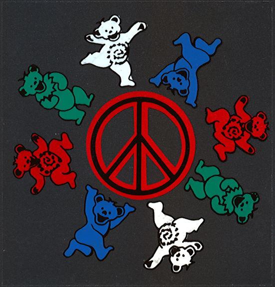 ##MUSICBP2009 - Grateful Dead Car Window Tour Sticker/Decal - Grateful Dead Bears Dancing Around a Peace Sign