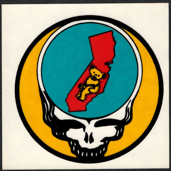 ##MUSICBP2015 - Grateful Dead Tour Sticker/Decal - State of California with Bear and Steal Your Face