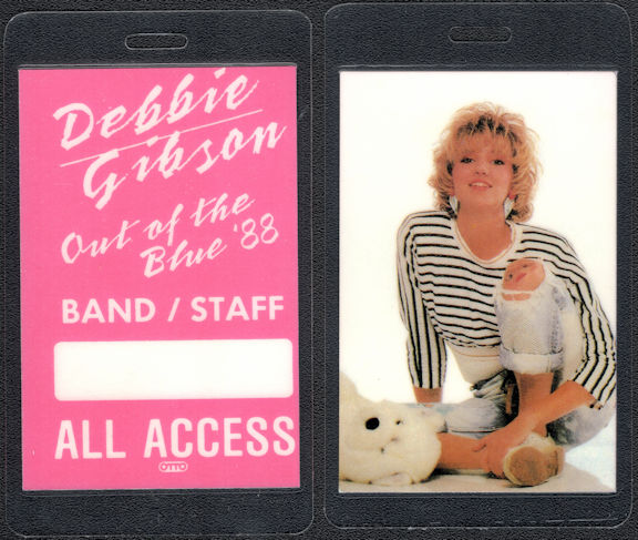 ##MUSICBP0612  - 1988 Debbie Gibson All Access Laminated OTTO Backstage Pass from the Out of the Blue Tour
