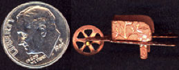#BEADSC0252 - Heavily Embossed Copper Plated Wheelbarrow Charm with Charm Loop and Moving Wheel
