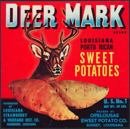 #ZLC431 - Deer Mark Louisiana Porto Rican Sweet Potatoes Crate Label