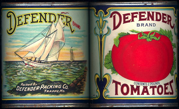 #CS391 - Scarce Large Defender Tomato Meadow Brand Tomatoes Label on an old Wax Seal Can
