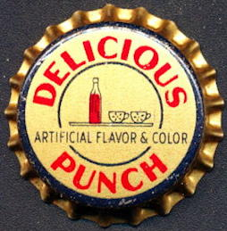 #BC162 - Group of 5 Early Cork Lined Delicious Punch Soda Caps