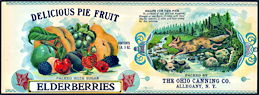 #ZLCA251 - Delicious Pie Fruit Elderberries Can Label with Jumping Fox