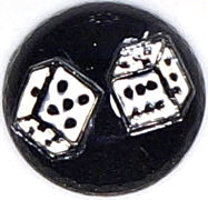 #BEADS0549 - Reverse Painted Glass Intaglio with Pair of Dice Pictured - As low as $1 each